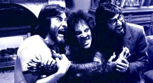 Rick Baker, David Naughton and John Landis on the set of AN AMERICAN WEREWOLF IN LONDON